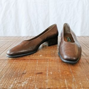 Vintage Rustic Brown Easy Spirit Block Heels